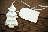 Decorated Christmas Tree Cookie With Label With Copy Space