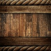 old wood board with rope