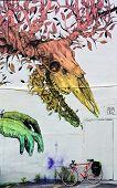 Street art Montreal skeleton