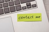 Contact Me Sticky Note On Laptop