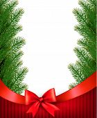 Christmas Background With  Branches Of Tree And Bow With Ribbons. Vector.