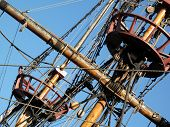 Rigging and crows nest of the Golden Hinde