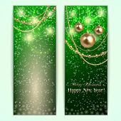 Vector green abstract Christmas and New Year Greeting or Invitation