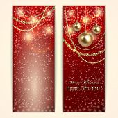 Vector abstract red  Christmas and New Year Greeting or Invitation