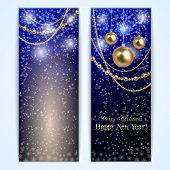 Vector abstract blue Christmas and New Year Greeting or Invitation