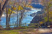Scenic overlook on Potomac River in Great Fall National Park Virginia US.