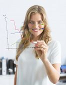 Businesswoman drawing a chart in a glass wall