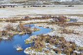 meanders of Canadian River in North Park near Walden, Colorado, late fall or early scenery