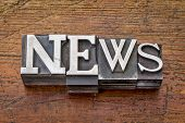 news word in vintage metal type printing blocks over grunge wood, mixed fonts in style and size