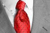 White dress shirt with red tie and suit jacketdetailed closeup
