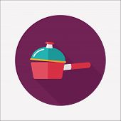 Kitchenware Pot Flat Icon With Long Shadow,eps10