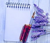 lavender flowers and note