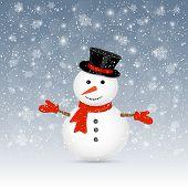 Snowman On Winter Background