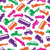 Simple Cars Color Icons Seamless Pattern Eps10