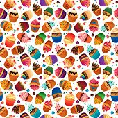 Super cake seamless pattern. Chocolate, vanilla desserts. Cupcake cherry sweets and pastries for you
