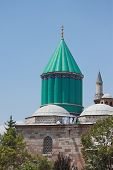 stock photo of sufi  - the most famous tower of Mevlana museum in Konya - JPG