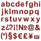Alphabet set from ruby with chrome frame lowercase letter.