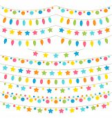 Collection Of Colorful Garland Lights