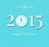 2015 New Years Background With Clock And Snow