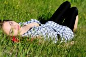 picture of sweet dreams  - sweet tender teen girl dreaming in the high grass - JPG