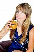 foto of calabash  - girl drinking mate she using calabash and bombilla - JPG