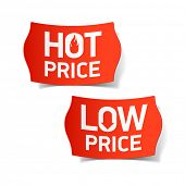 Hot and Low Price labels. Vector.