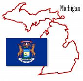 Michigan State Map And Flag