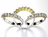 Golden wedding Rings with Diamond. Jewelry background