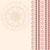 Oriental pink and cream elephant and lotus mandala design