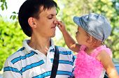 Baby Girl Showing Father's Nose