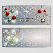 Vector abstract silver Christmas and New Year Greeting or Invitation