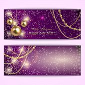 Vector abstract purple Christmas and New Year Greeting or Invitation