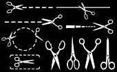 White Scissors Set With Dotted Line On Black Background