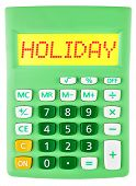 Calculator With Holiday On Display Isolated