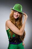 Young woman wearing green dress