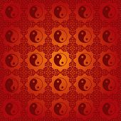 Red Chinese yin Yang Pattern