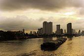 River Morning Life In Bangkok