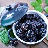 stock photo of blackberries  - fresh blackberry in the bowl and on a table - JPG