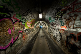 picture of underworld  - Dark and long undergorund passage with light - JPG
