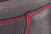 stock photo of stitches  - Close up of red stitches - JPG
