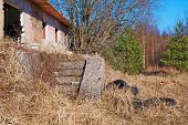 picture of abandoned house  - The ruins of an abandoned house with staircase collapsedThe ruins of an abandoned house with staircase collapsed - JPG