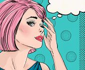 stock photo of cry  - Pop Art illustration of surprised woman with the speech bubble - JPG