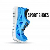 image of curves  - Running curved blue shoes - JPG