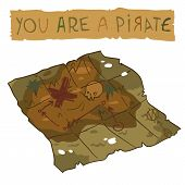 image of treasure map  - The vector illustration of treasure map for game presentation - JPG