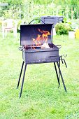 picture of brazier  - brazier with shining fire wood on green lawn  - JPG