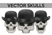 pic of rogue  - Set of Human skulls with bowler hat - JPG