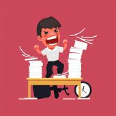stock photo of hysterics  - Hysterical Angry Manager Working at the Office - JPG