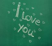 pic of heartfelt  - I Love You written on blackboard - JPG