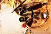 picture of spyglass  - Marine still life spyglass and world map on old wooden background - JPG