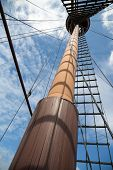 stock photo of mast  - Mast and rigging on a sailing wooden ship - JPG